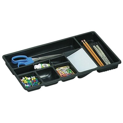 "Officemate International Corp Drawer Tray, 9 Compartments, 16""x9""x1-1/2"", Black"