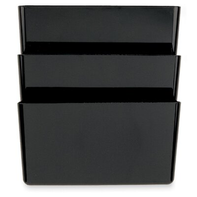 Officemate International Corp Wall File, Recycled, 3 Pockets, Black