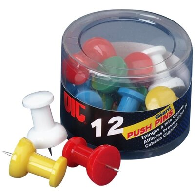 Officemate International Corp Giant Push Pins, For Visual Impact , 12 per Pack, Assorted Colors