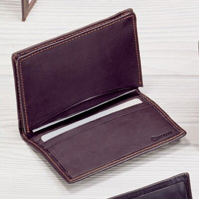 Winn International Black Cowhide Nappa Supple Leather Two Fold Business Card Case II