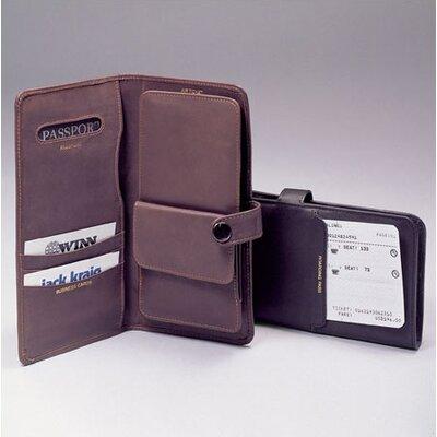 Winn International Cowhide Nappa Leather Passport Organizer with Wallet