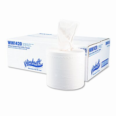 Windsoft Center-Flow Perforated Paper Towel Roll, 7-7/8 x 600', White, 6/carton