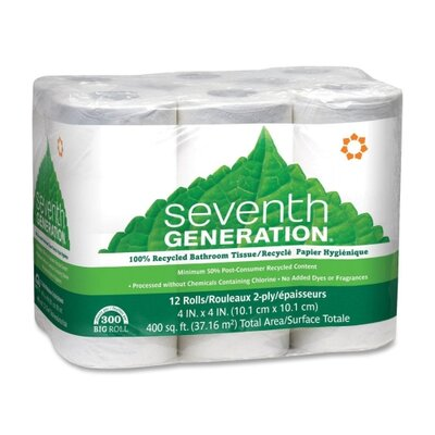 Seventh Generation 100% Recycled Bathroom Tissue Rolls, 12 Rolls/Pack