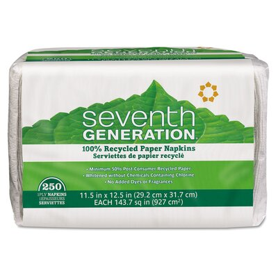 Seventh Generation Single-Ply Luncheon Napkins, 9-1/2 x 3, White, 250 per Pack