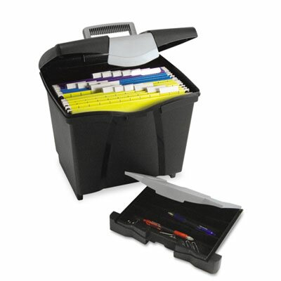 Storex Portable File Storage Box with Drawer