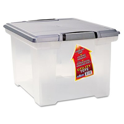 Storex Portable File Tote with Locking Handle Storage Box, Letter/Legal,
