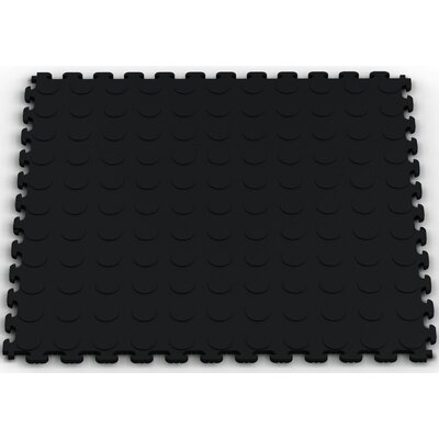 Norsk Floor Raised Coin Multi-Purpose PVC Floor Tile in Black (Pack of 6)