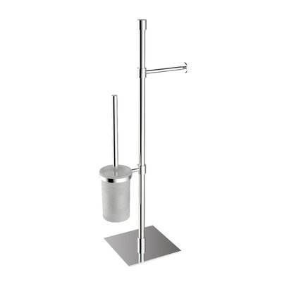 "WS Bath Collections Complements 9.1"" x 9.1"" Rampin Stand with Toilet Paper Holder and Toilet Brush Holder in Polished Chrome"