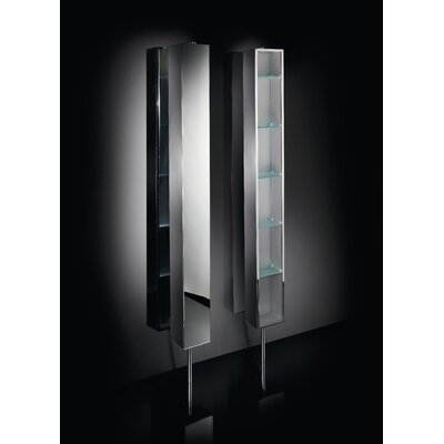 "WS Bath Collections Linea 9.8"" x 8.3"" Pika Bathroom Storage Rotating Cabinet in Stainless Steel"