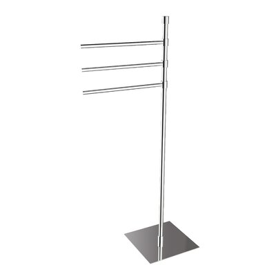 "WS Bath Collections Complements 35.6"" x 9.1"" Rampin Towel Stand in Polished Chrome"