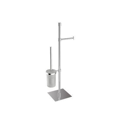 "WS Bath Collections Complements 9.1"" x 9.1"" Rampin Towel Stand with Toilet Paper Holder and Toilet Brush Holder in Polished Chrome"