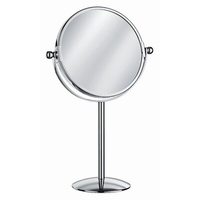 "WS Bath Collections Mirror Pure 9"" x 9"" Mevedo Make Up Magnifying Mirror Free Standing Revolving in Polished Chrome"