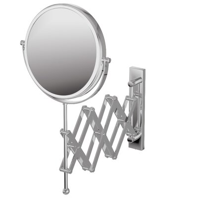 "WS Bath Collections Mirror Pure 9"" X 9"" Mevedo Make Up Magnifying Mirror Wall Mount Revolving Scissor Style in Polished Chrome"