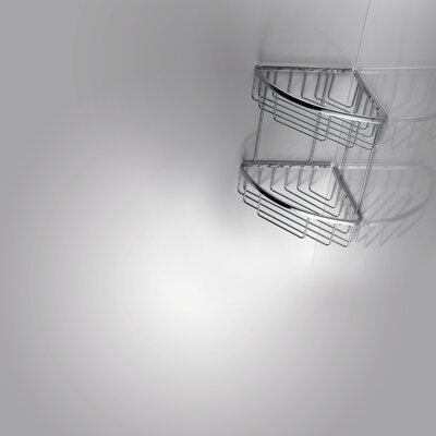"""WS Bath Collections Filo 7.8"""" x 7.8"""" Shower Basket Double in Polished Chromed"""