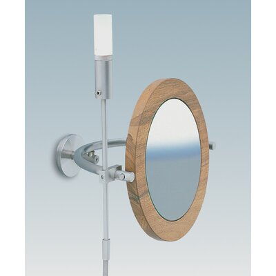 "WS Bath Collections WS1 Wall-mount Magnifying (5X) Nutwood Frame Makeup Mirror with Halogen Light, 8.6"" Extension"