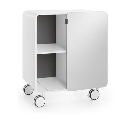 Linea Bej Two Shelf Storage Unit with Wheels