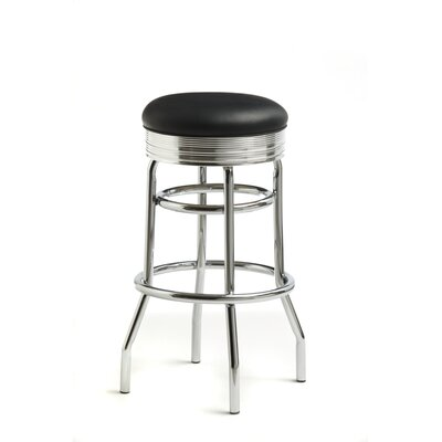 "Classic Retro Dinettes Retro 30"" Backless Swivel Barstool in Bright Chrome"