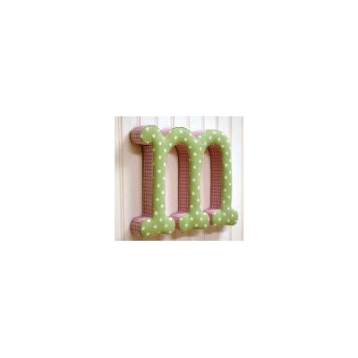 "New Arrivals ""m"" Fabric Letter in Pink / Green"