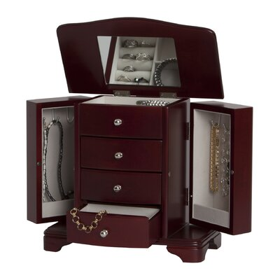 Mele & Co. Shannon Musical Jewelry Box in Cherry Finish