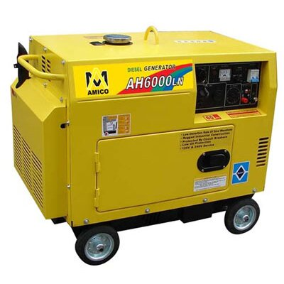 6,500 Watt Diesel Generator with Wheel Kit and Electric Start - AH6000LN