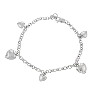Skyline Silver Sterling Silver with CZ Accented Heart Charm Bracelet