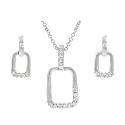 Sterling Silver CZ Accented Square Necklace and Earring Set
