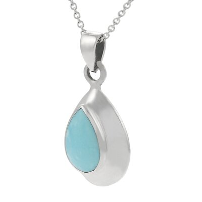 "Skyline Silver Sterling Silver 0.43"" with Oval Turquoise Necklace"