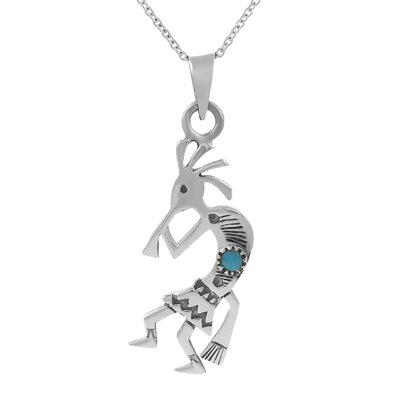 "Skyline Silver Sterling Silver 0.43"" Kokopelli with Turquoise Necklace"
