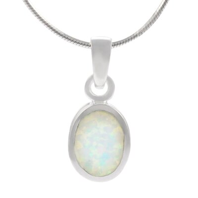 Sterling Silver and White Opal Oval Necklace