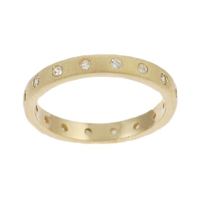 Gold Plated Sterling Silver CZ Accented Eternity Ring