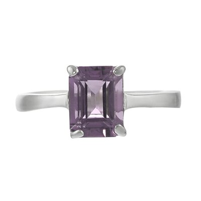 Skyline Silver Sterling Silver Emerald Cut Amethyst Solitaire Ring