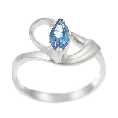 Sterling Silver Blue Topaz Marquise Cut Ring