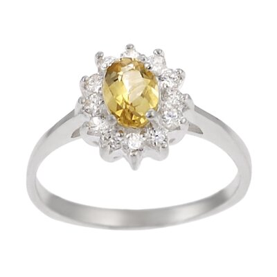 Skyline Silver Sterling Silver Oval Citrine with Accents Ring