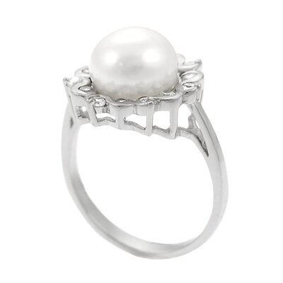 Skyline Silver Sterling Silver Ring with White Cultured Pearl Center and CZ Accents