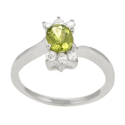 Sterling Silver Oval Peridot with CZ Ring