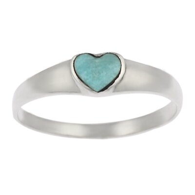 Sterling Silver and Turquoise Heart Ring