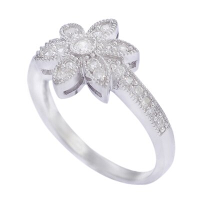 "Skyline Silver Sterling Silver CZ 0.43"" Flower Ring"