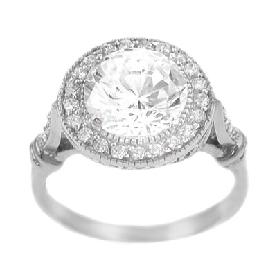 Skyline Silver Sterling Silver Round Cut CZ Ring
