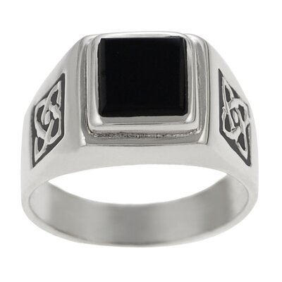 Sterling Silver Celtic and Black Onyx Ring