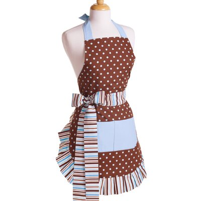 Women's Apron in Blue/Chocolate