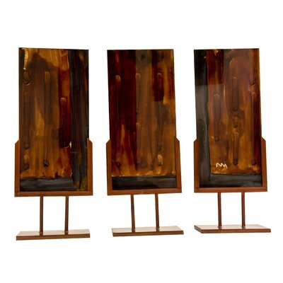 Ambiente Handmade Sculptural Panel with Iron Stands