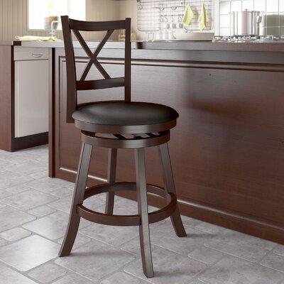 "dCOR design Woodgrove Cross Back 24"" Swivel Bar Stool with Cushion"