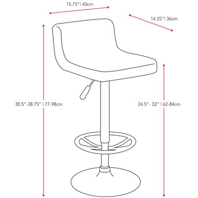 dCOR design CorLiving Low Back Adjustable Barstool (Set of 2)