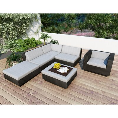 dCOR design Beach Grove Park Terrace 6 Piece Deep Seating Group with Cushions