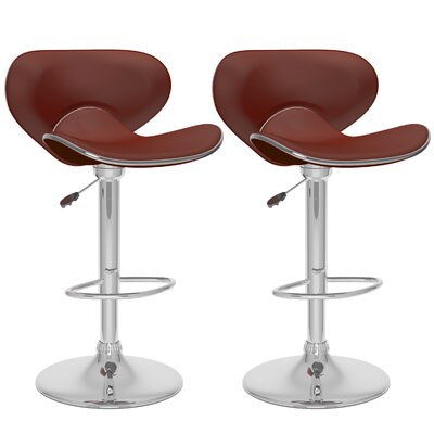 dCOR design Curved Form Fitting Adjustable Bar Stool (Set of 2)