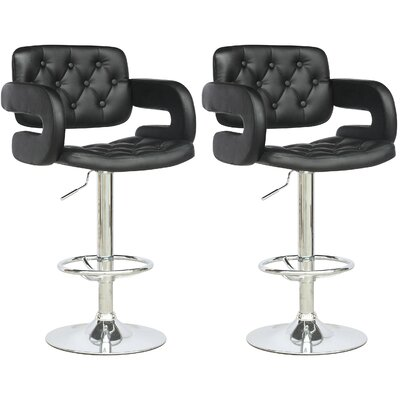 dCOR design Tufted Adjustable Bar Stool with Armrest (Set of 2)