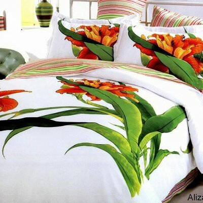 Le Vele Tiger Lily 6 Piece Full / Queen Duvet Cover Bedding Set