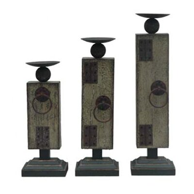Crestview Collection Industria Metal Candlesticks (Set of 3)