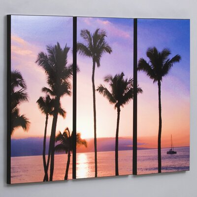 Three Piece Maui Sunset with Sailboat Laminated Framed Wall Art Set - 36