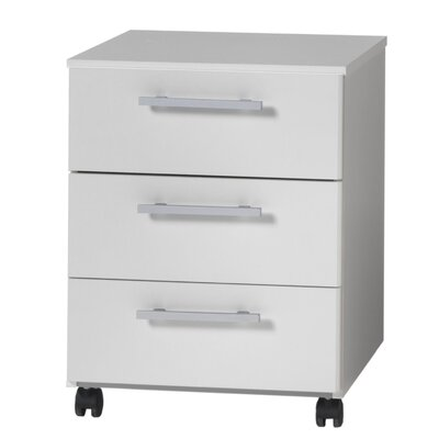 Modal Mura Three Drawer Filing Pedestal in White Melamine